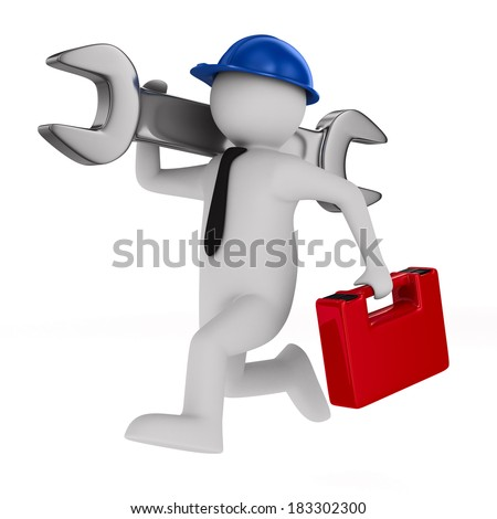 Man with wrench on white background. Isolated 3D image - stock photo