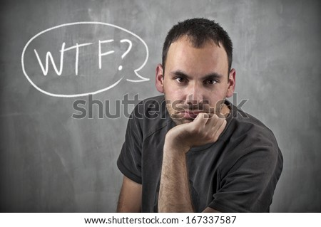 Man with WTF speech bubble