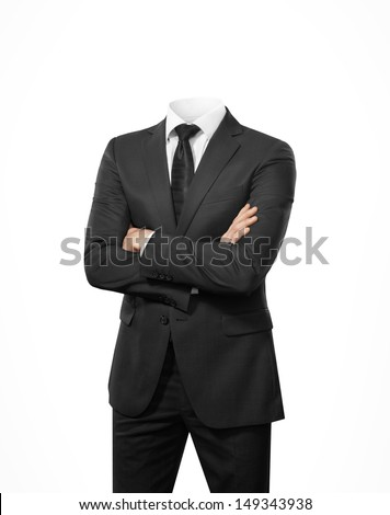 man without head isolated on white  - stock photo