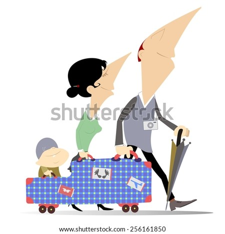 Man, woman and a baby traveling with big trunk - stock photo