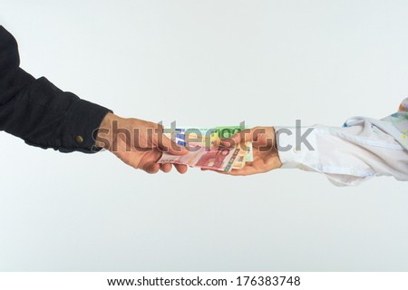 man woman hand give money euro business sell buy
