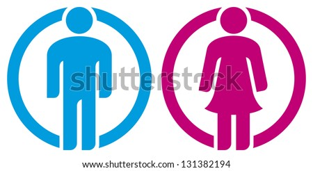 man & woman restroom sign (silhouettes of man and woman, boy girl button, wc icon, men and women toilet sign, icon male and female, man & woman icon, man and women WC sign, toilet symbol) - stock photo