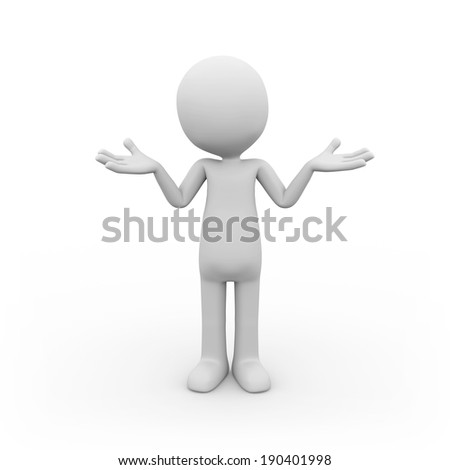 Man wondering on white background