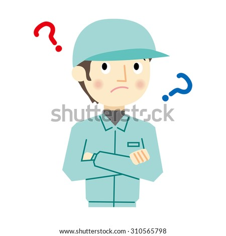 Man worker of expression - stock photo