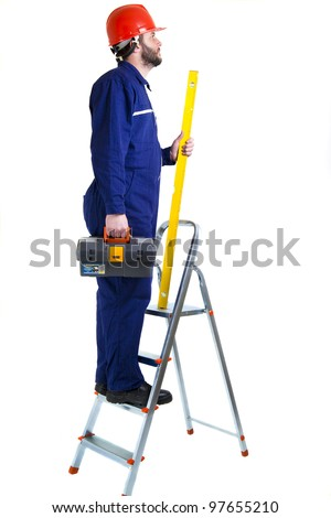 Man, worker on the ladder,  isolated on white - stock photo