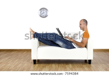 Man working at home with the laptop