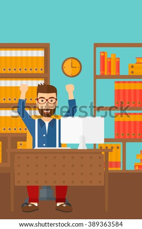 Man working at office. - stock photo