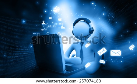 Man working in a call center	 - stock photo