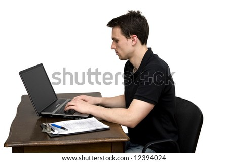 man working in office studio isolated
