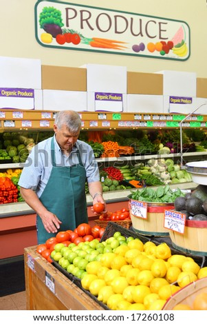 Man working in produce section