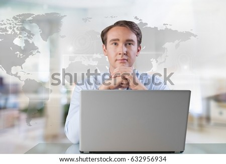 Man working laptop.
