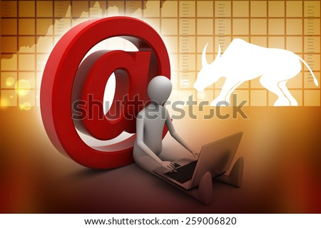 Man working laptop with e-mail symbol - stock photo