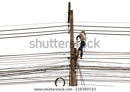 Man working on electric pole isolated on white background