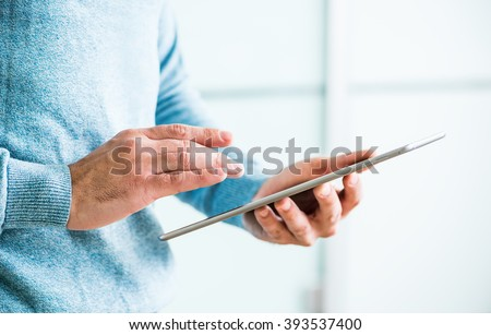 Man working with tablet computer
