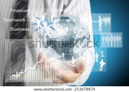 Man working with touch screen