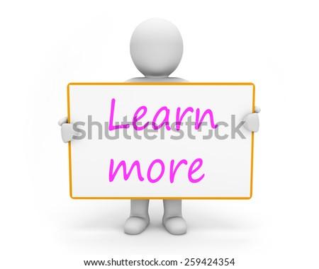man write learn more - stock photo