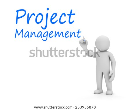 man write project management - stock photo
