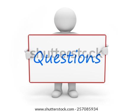 man write questions - stock photo