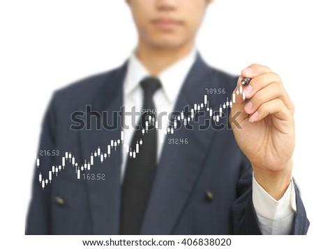 man write stock graph - stock photo