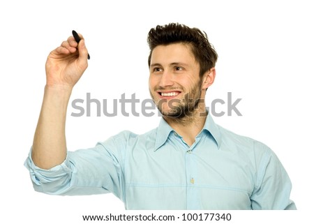 Man writing - stock photo