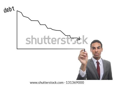 Man writing graphic of debts - stock photo