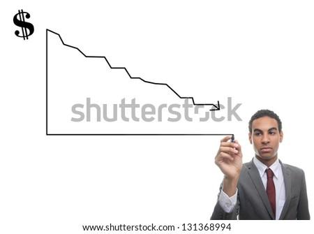 Man writing graphic of loss - stock photo