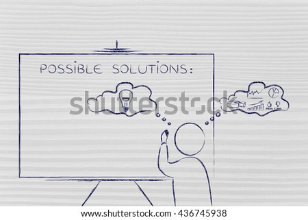 man writing on blackboard while elaborating creative thoughts (right side of his brain) and analytical reasonings (his left side) - stock photo