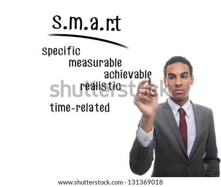 Man writing s.m.a.r.t formula - stock photo