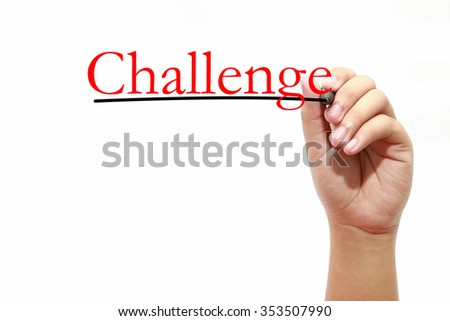 Man writing text challenge over white - stock photo