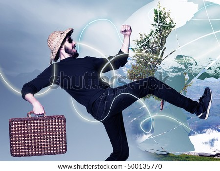 man wtih suitcase ready to travel as tourist on gray background