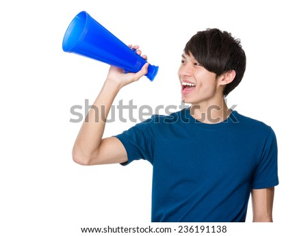 Man yell with megaphone - stock photo