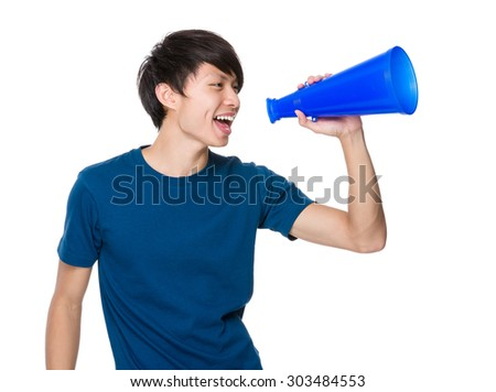 Man yell with megaphone