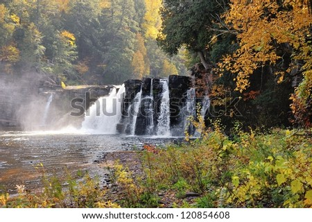 Manabezho Falls, Presque Isle river, Porcupine Mountains Wilderness State Park - stock photo