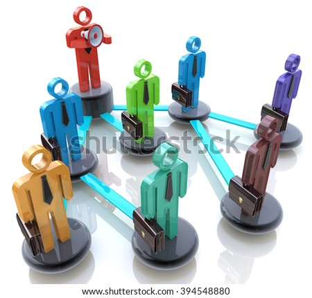 Manage a team - Business hierarchy or network of people in the design of the information related to the management - stock photo