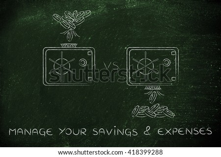 manage your savings & expenses: coins being dropped into and out of safe - stock photo