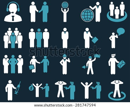 Management and people occupation icon set. These flat bicolor symbols use blue and white colors. Clipart images are isolated on a dark blue background. Angles are rounded.