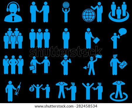 Management and people occupation icon set. These flat symbols use blue color. Flat images are isolated on a black background. Angles are rounded.