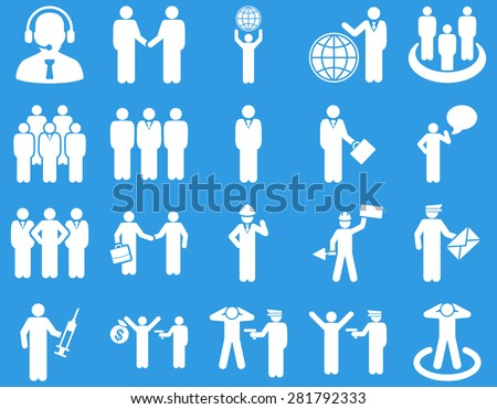 Management and people occupation icon set. These flat symbols use white color. Clipart images are isolated on a blue background. Angles are rounded.