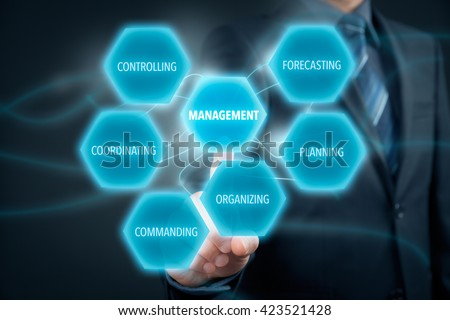 Management concept - businessman (manager) click on button with text management. Managerial six functions: forecasting, planning, organizing, commanding, coordinating and controlling. - stock photo