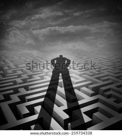 Management consulting and new consultant solution concept as a shadow of a person or advisor on a complicated maze or labyrinth as a metaphor and symbol for providing counsel. - stock photo