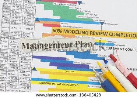 Management plan newspaper cutout in a document management plan. - stock photo