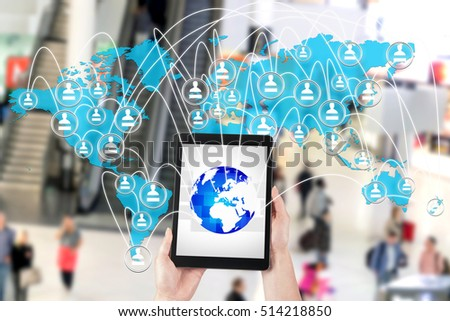 Management tablet's global network. Concept conduct of business in the era of digitalization.