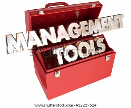 Management Tools 3d Words Toolbox Leading Organization Team Executive - stock photo