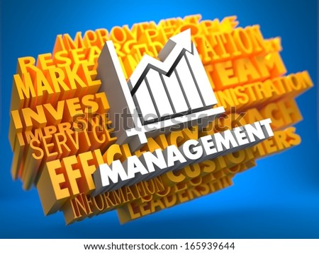 Management with Growth Chart - White Color Text on Yellow WordCloud on Blue Background. - stock photo