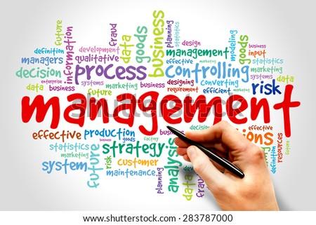 Management word cloud, business concept - stock photo