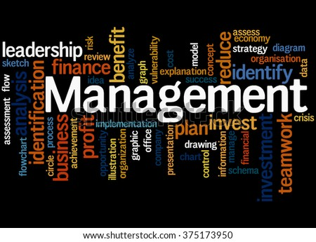 Management, word cloud concept on black background.