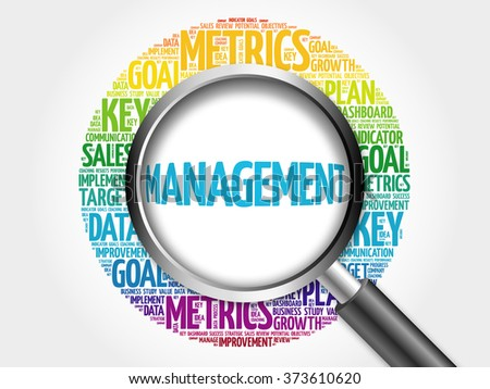 Management word cloud with magnifying glass, business concept - stock photo