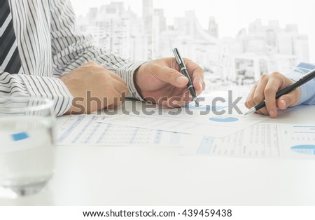 Manager analyze financial numbers to view the performance of the company. Concept of business analytics. - stock photo