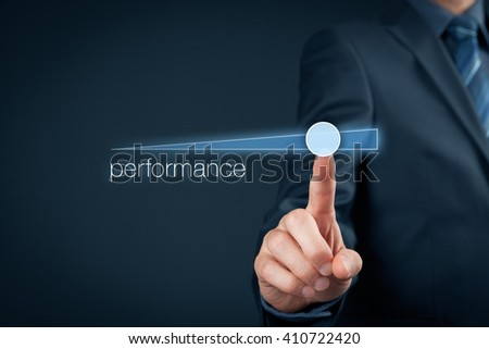 Manager (businessman, coach, leadership) plan to increase company performance. - stock photo