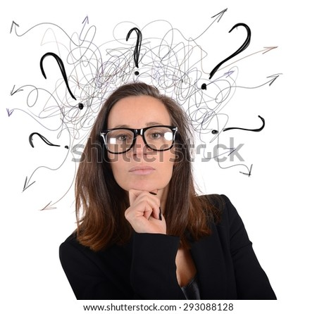 Manager businesswoman analyzes the work of employees - stock photo